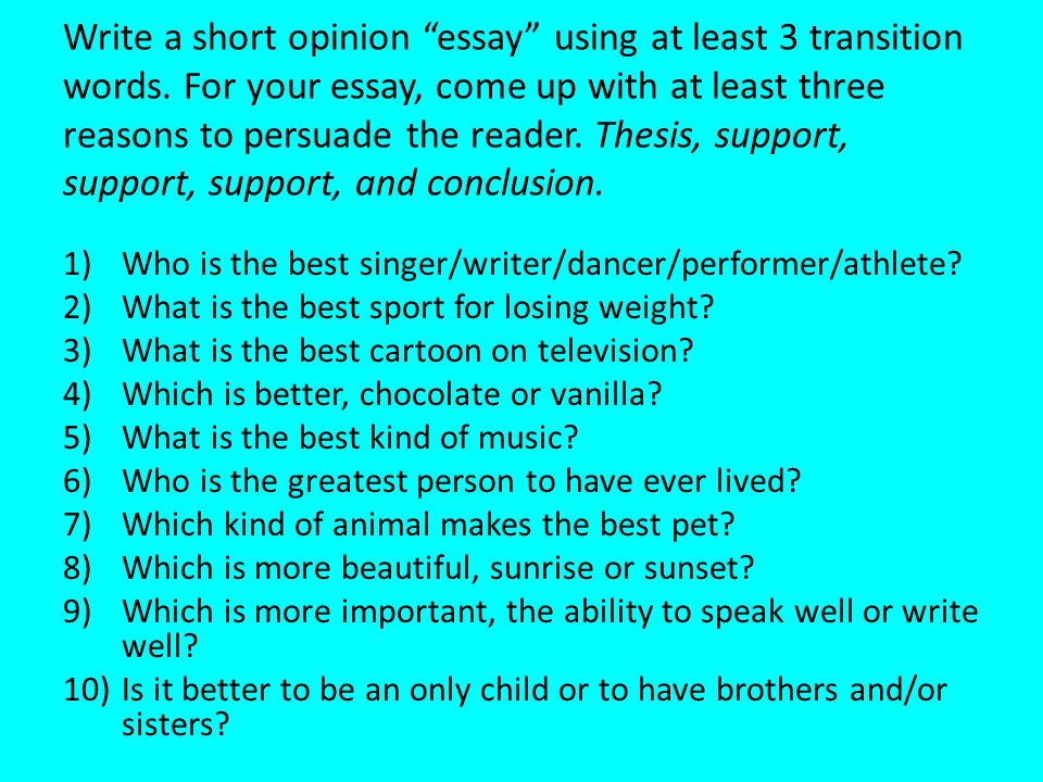 Write a short opinion essay using at least 3 transition words
