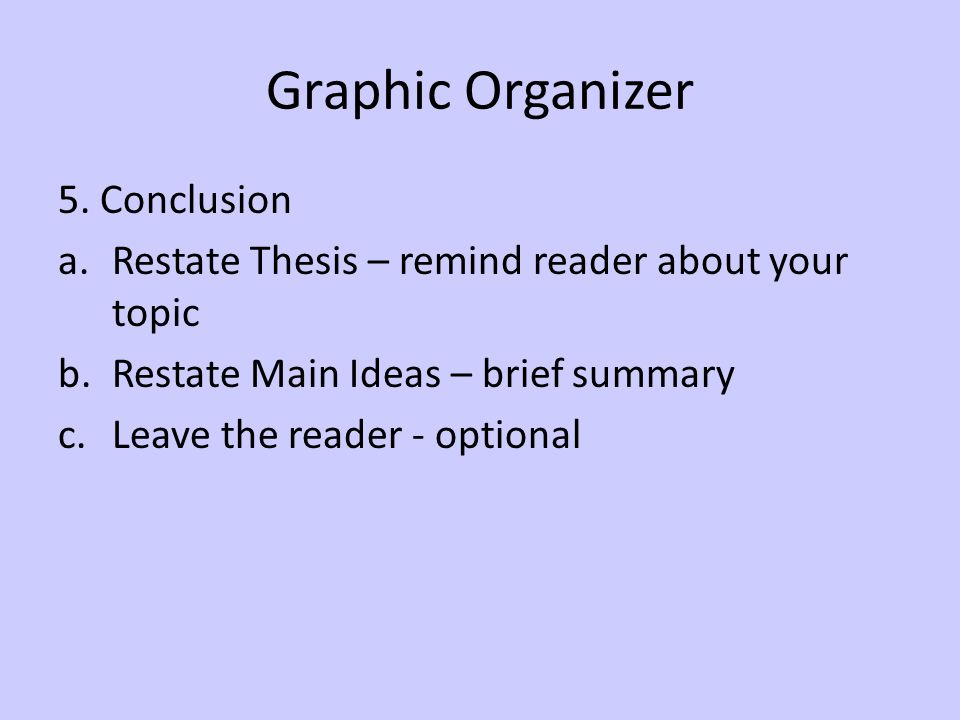 Graphic Organizer 5. Conclusion