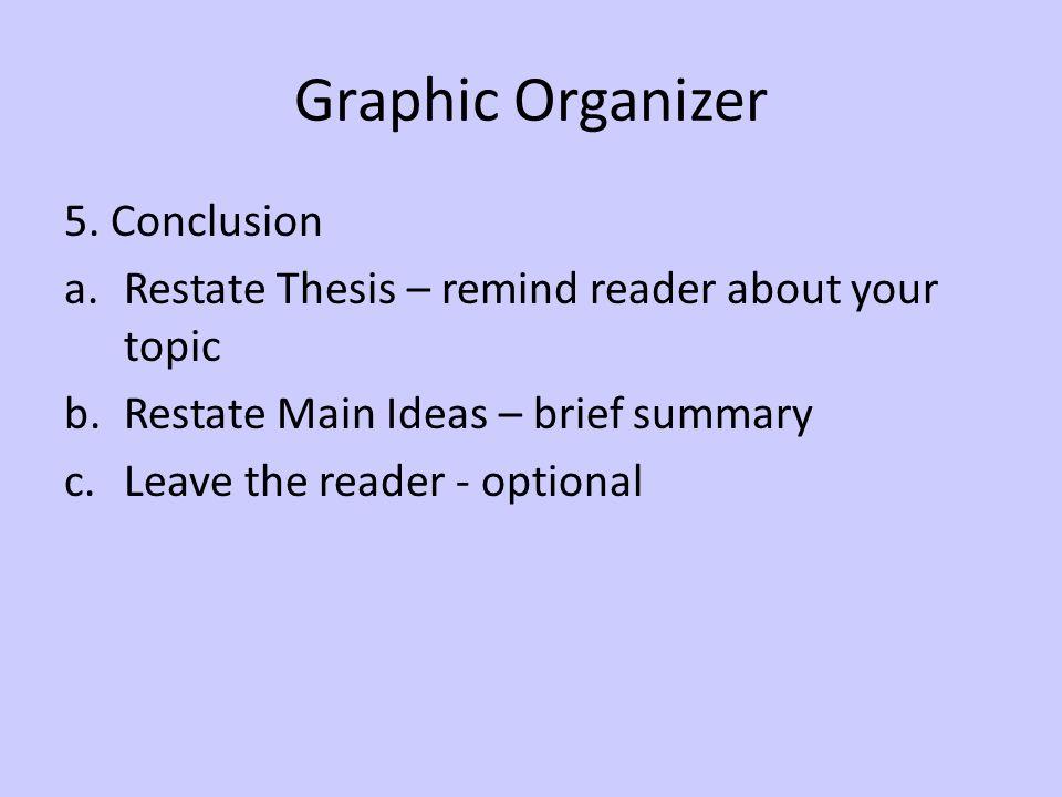 Graphic Organizer 5. Conclusion