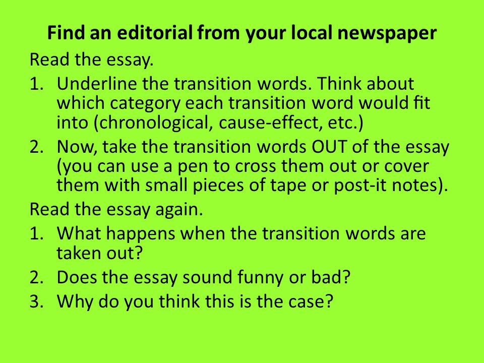 Find an editorial from your local newspaper