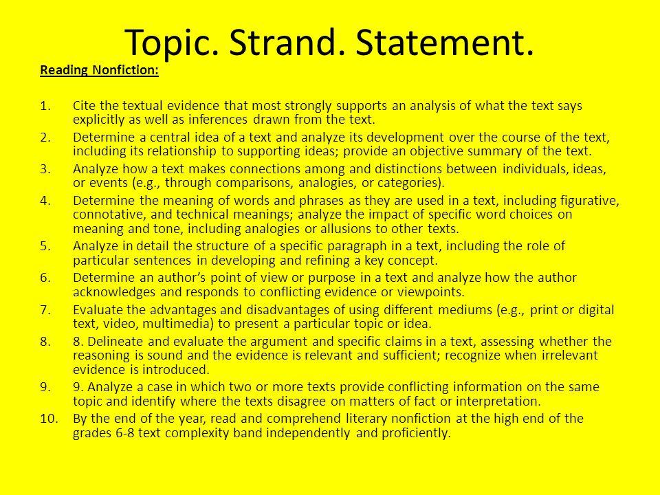 Topic. Strand. Statement.