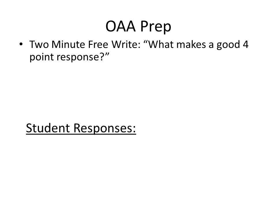 OAA Prep Student Responses: