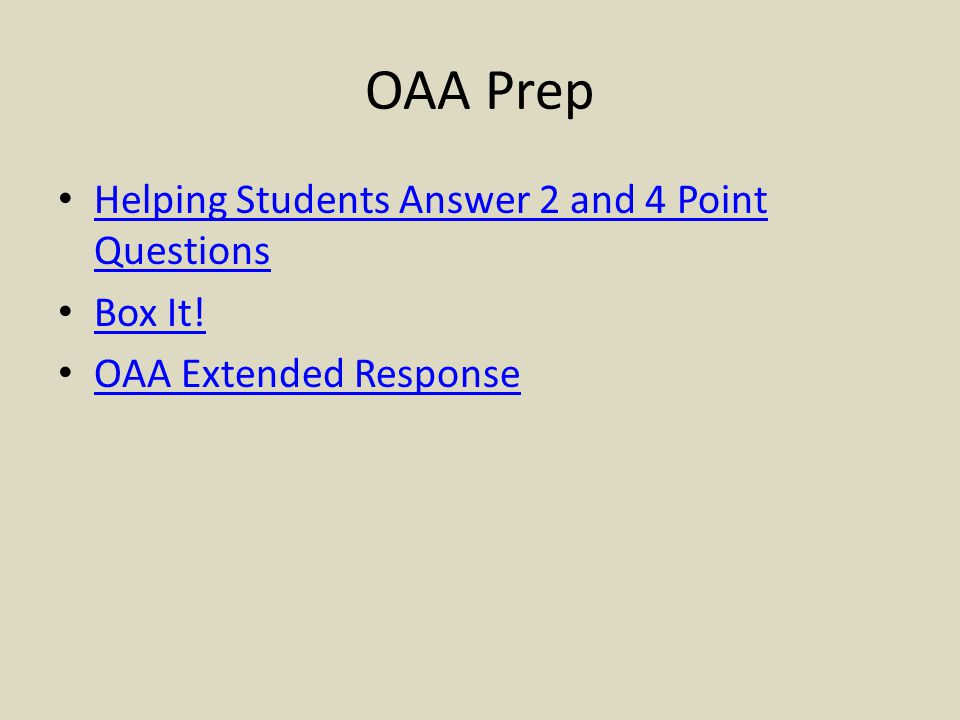OAA Prep Helping Students Answer 2 and 4 Point Questions Box It!