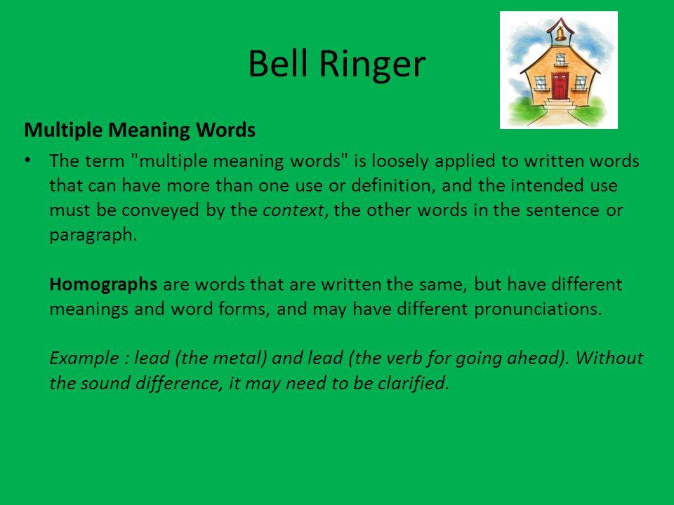 Bell Ringer Multiple Meaning Words