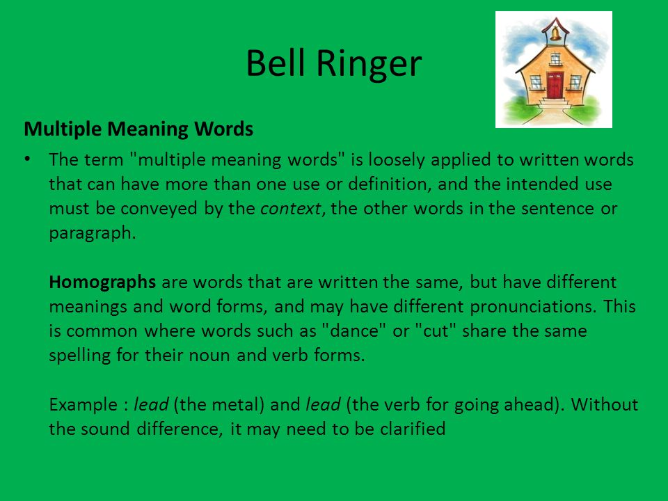 Bell Ringer Multiple Meaning Words