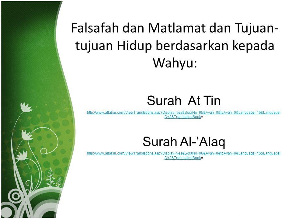 Falsafah dan Matlamat dan Tujuan-tujuan Hidup berdasarkan kepada Wahyu: