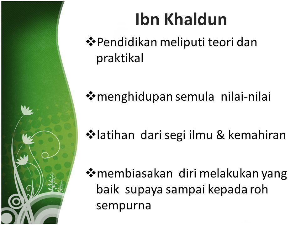 Ibn Khaldun Pendidikan meliputi teori dan praktikal