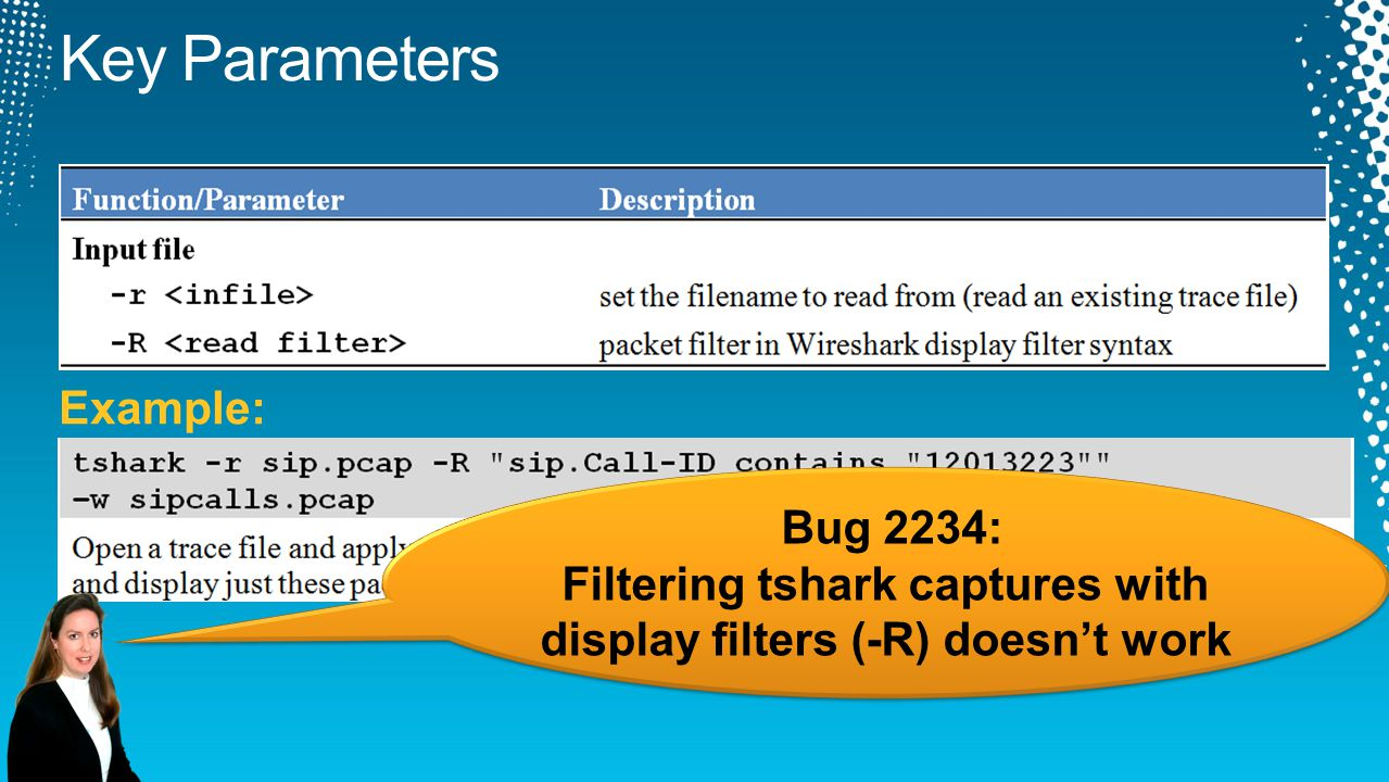 Filtering tshark captures with display filters (-R) doesn't work
