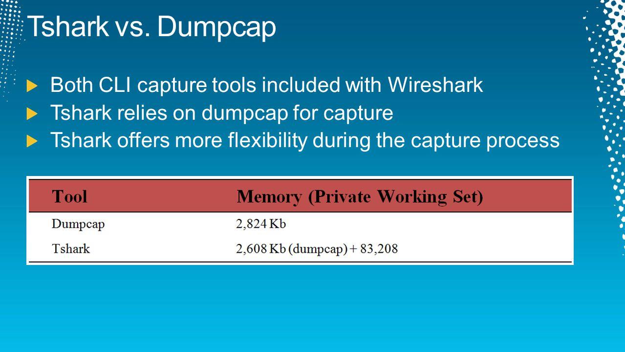 Tshark vs. Dumpcap Both CLI capture tools included with Wireshark
