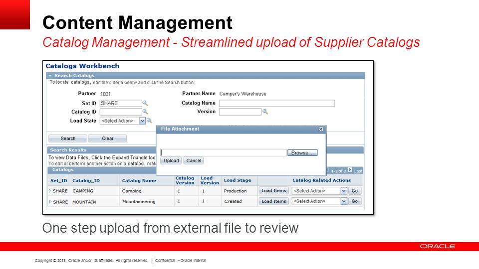Content Management Catalog Management - Streamlined upload of Supplier Catalogs.