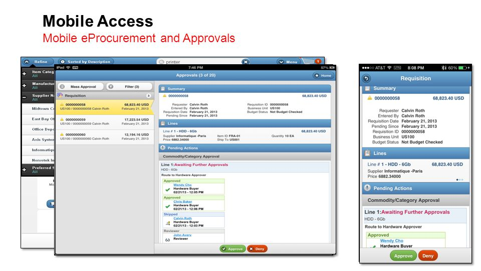 Mobile Access Mobile eProcurement and Approvals