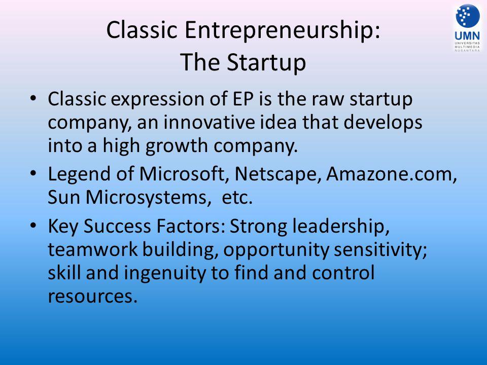 Classic Entrepreneurship: The Startup