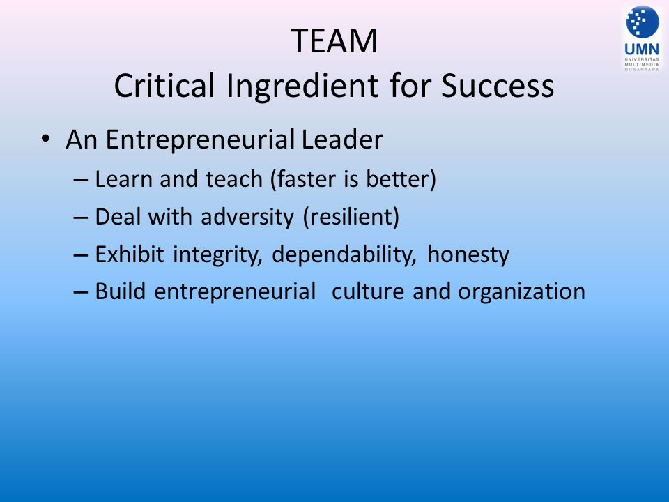 TEAM Critical Ingredient for Success