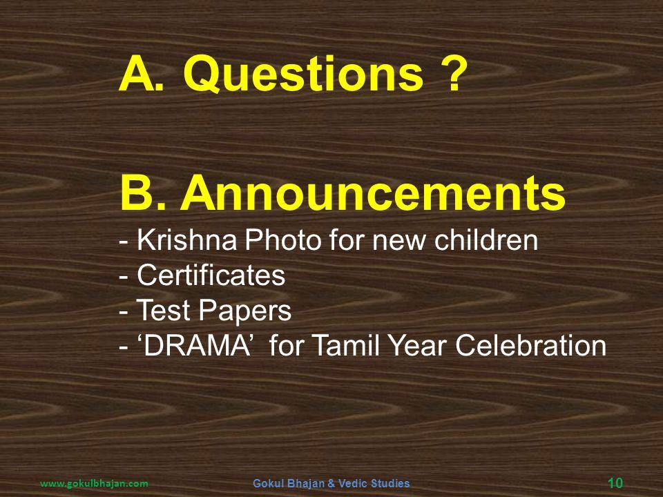 Gokul Bhajan & Vedic Studies