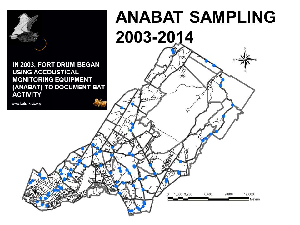 ANABAT SAMPLING 2003-2014 IN 2003, FORT DRUM BEGAN USING ACCOUSTICAL MONITORING EQUIPMENT (ANABAT) TO DOCUMENT BAT ACTIVITY.
