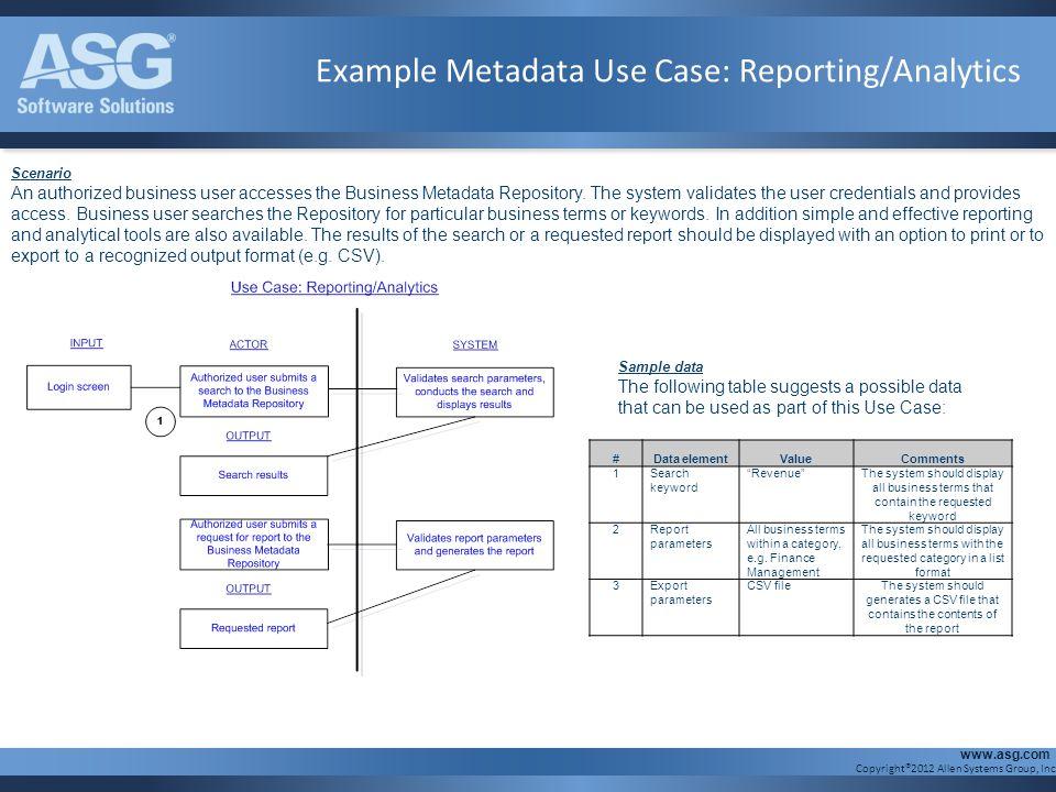 Example Metadata Use Case: Reporting/Analytics
