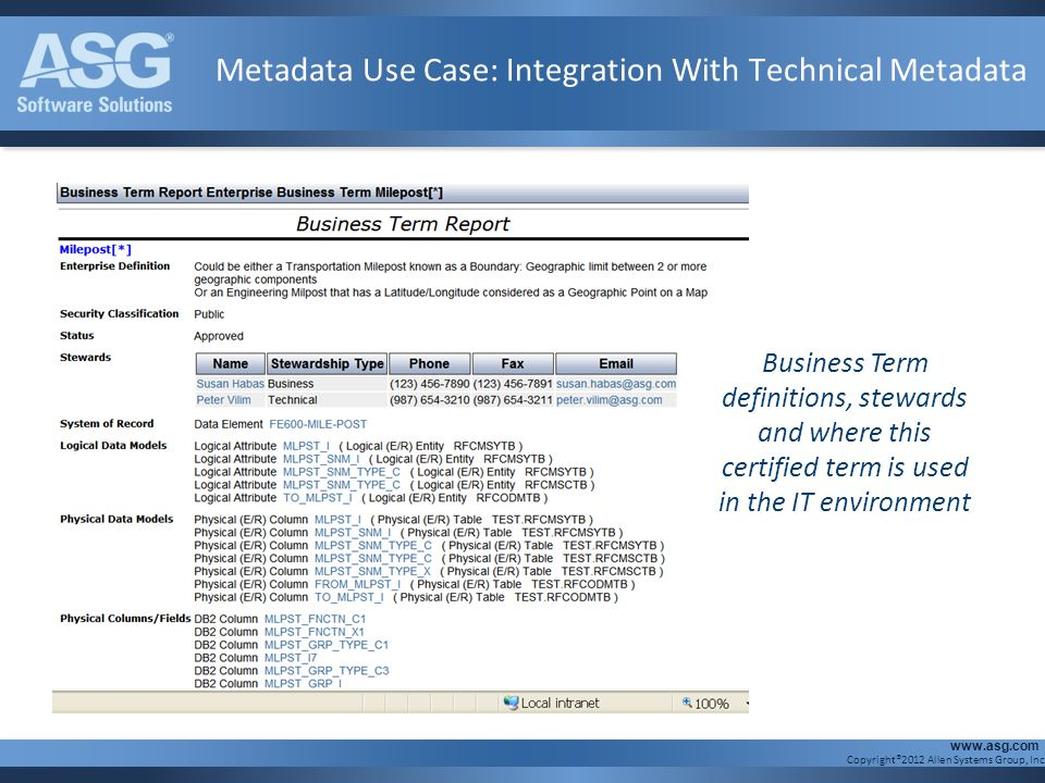 Metadata Use Case: Integration With Technical Metadata