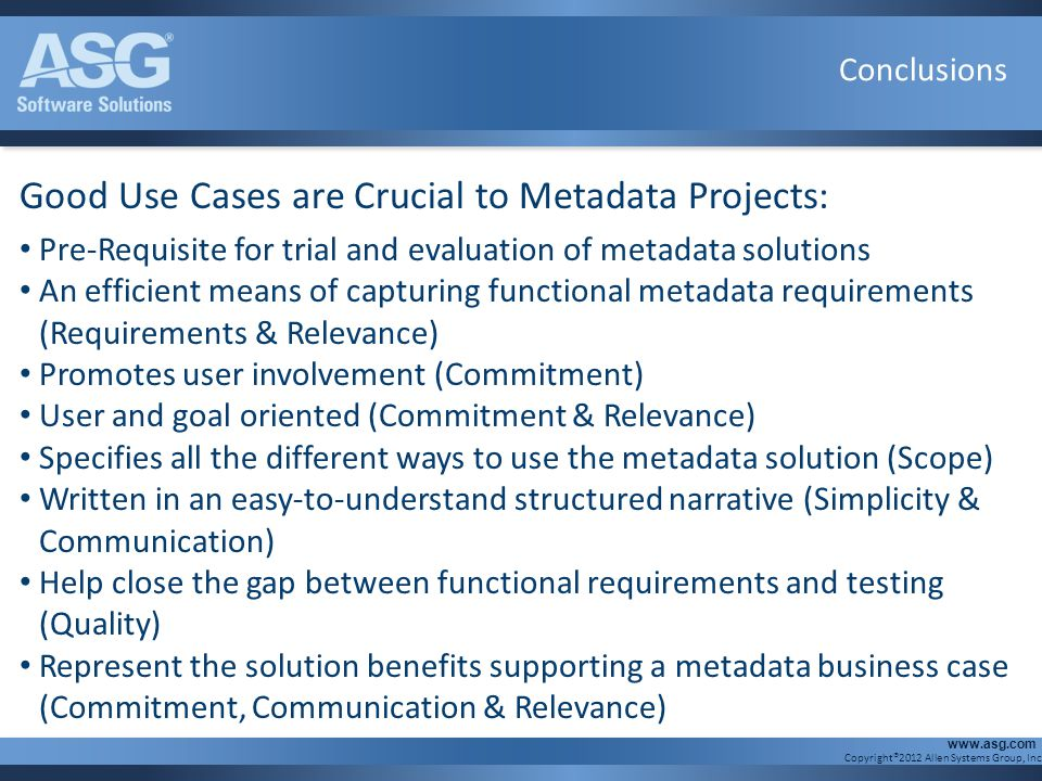 Good Use Cases are Crucial to Metadata Projects: