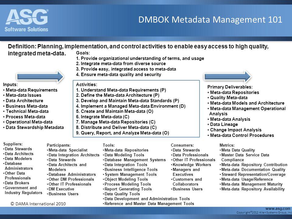 DMBOK Metadata Management 101
