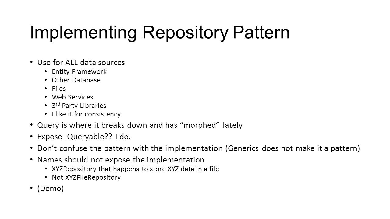 Implementing Repository Pattern