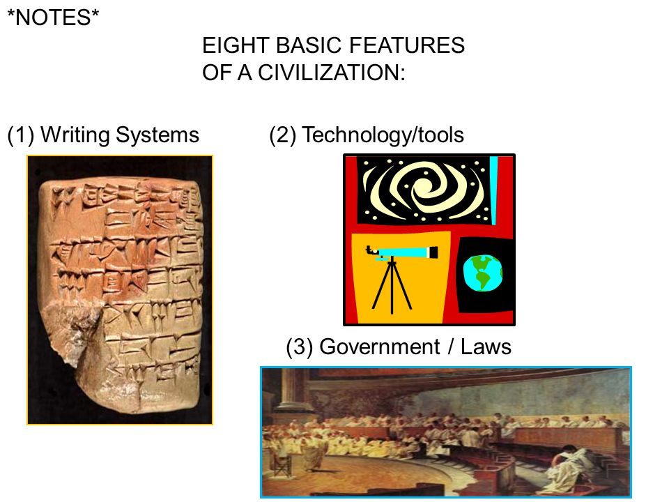 *NOTES* EIGHT BASIC FEATURES OF A CIVILIZATION: Writing Systems.