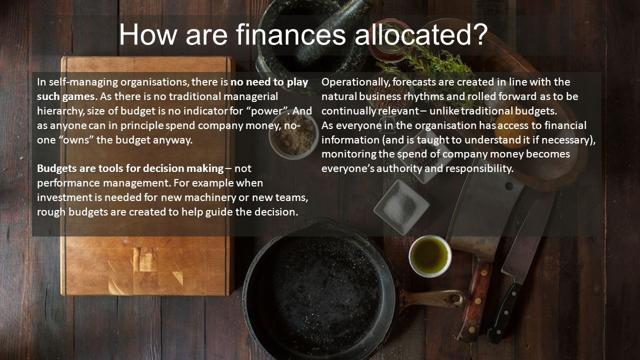 How are finances allocated