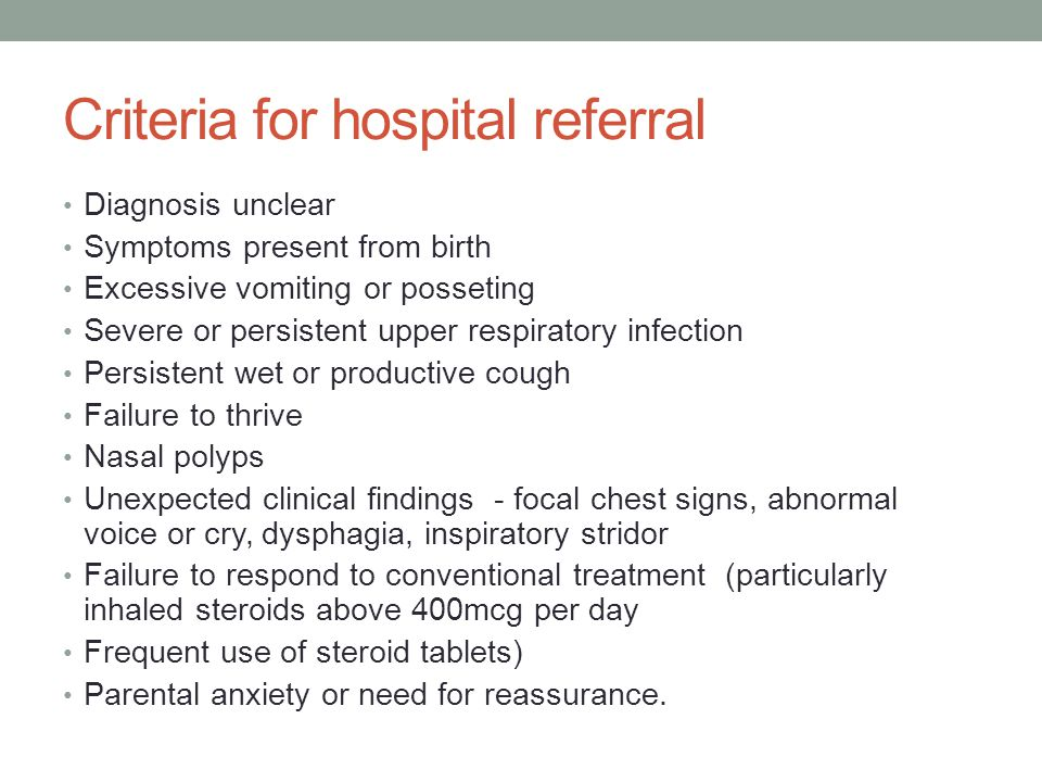 Criteria for hospital referral