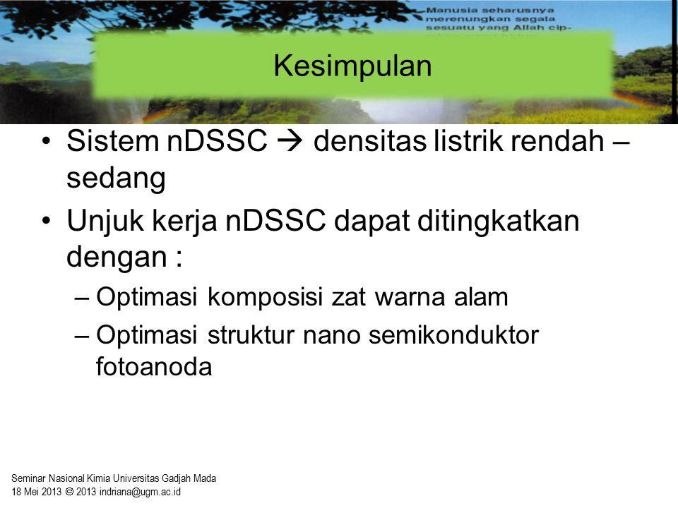 Sistem nDSSC  densitas listrik rendah – sedang