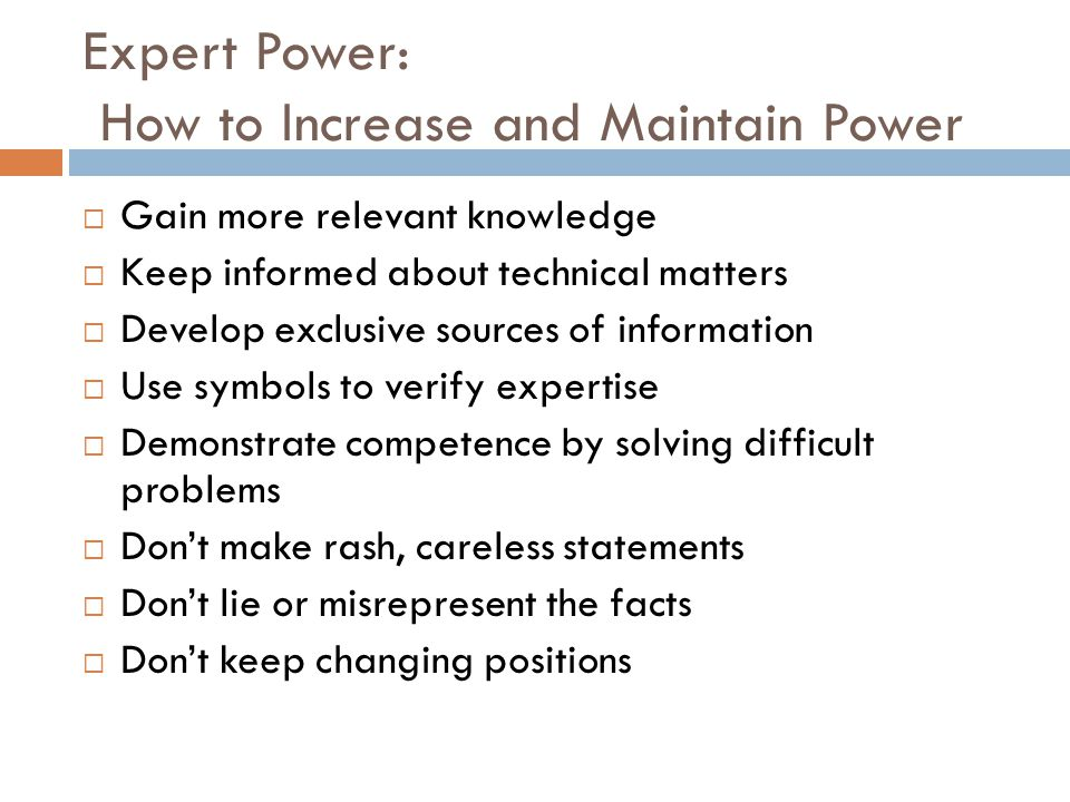 Expert Power: How to Increase and Maintain Power