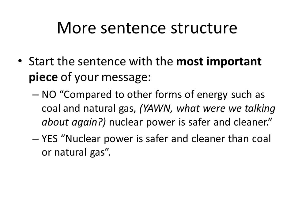More sentence structure