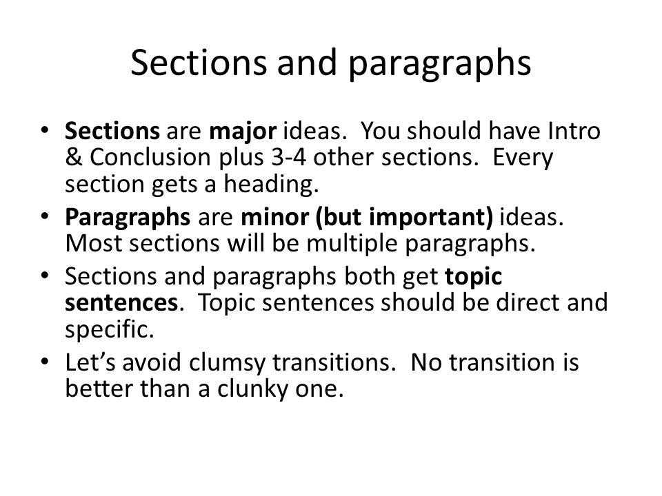 Sections and paragraphs