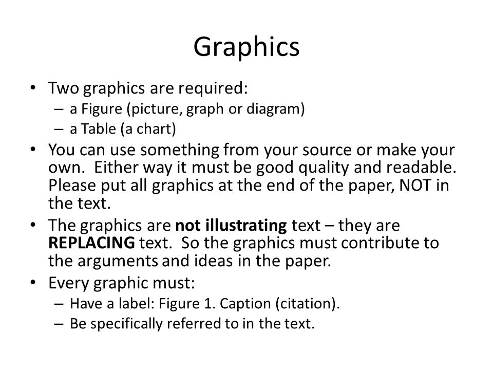 Graphics Two graphics are required: