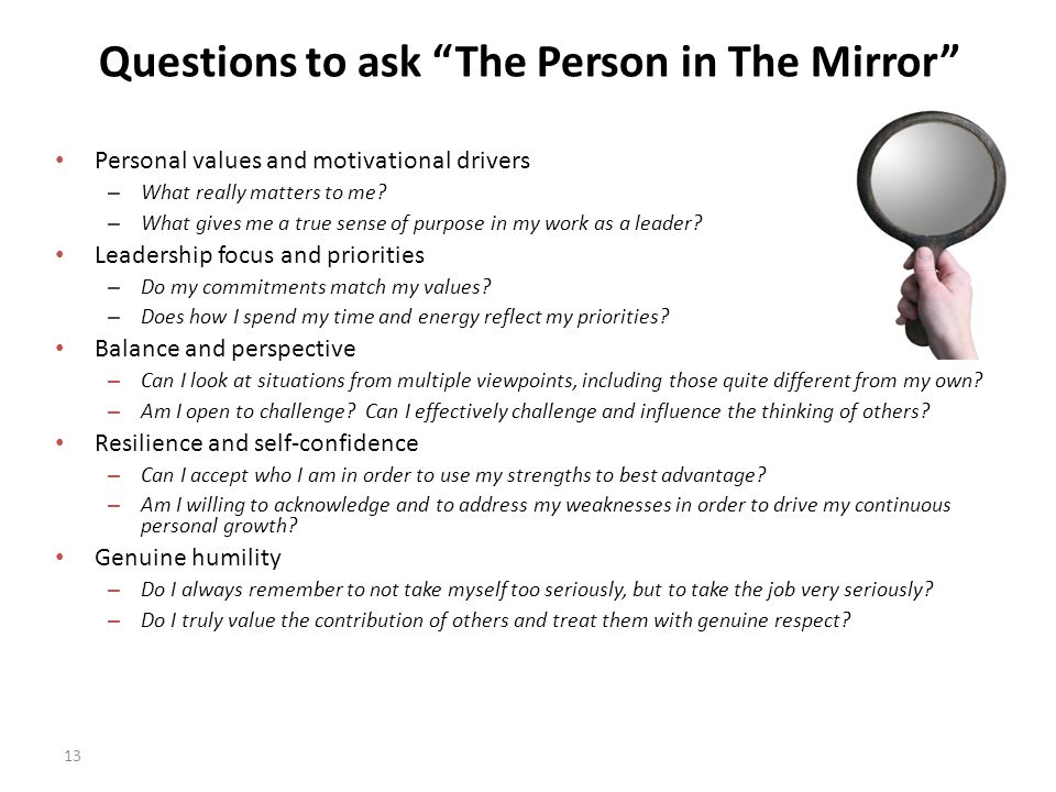 Questions to ask The Person in The Mirror