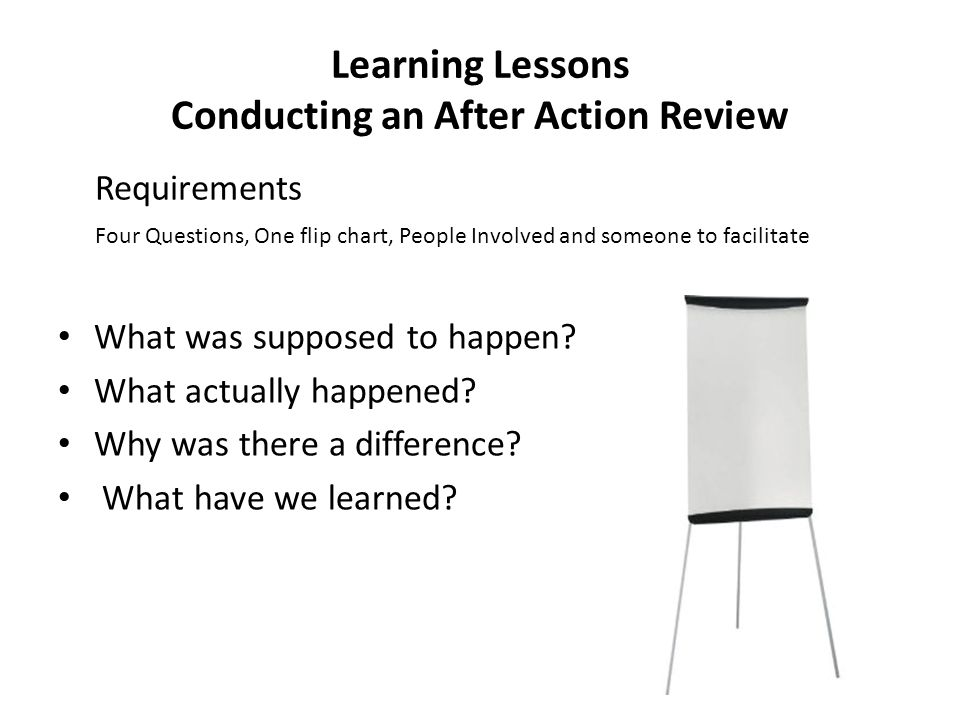 Learning Lessons Conducting an After Action Review
