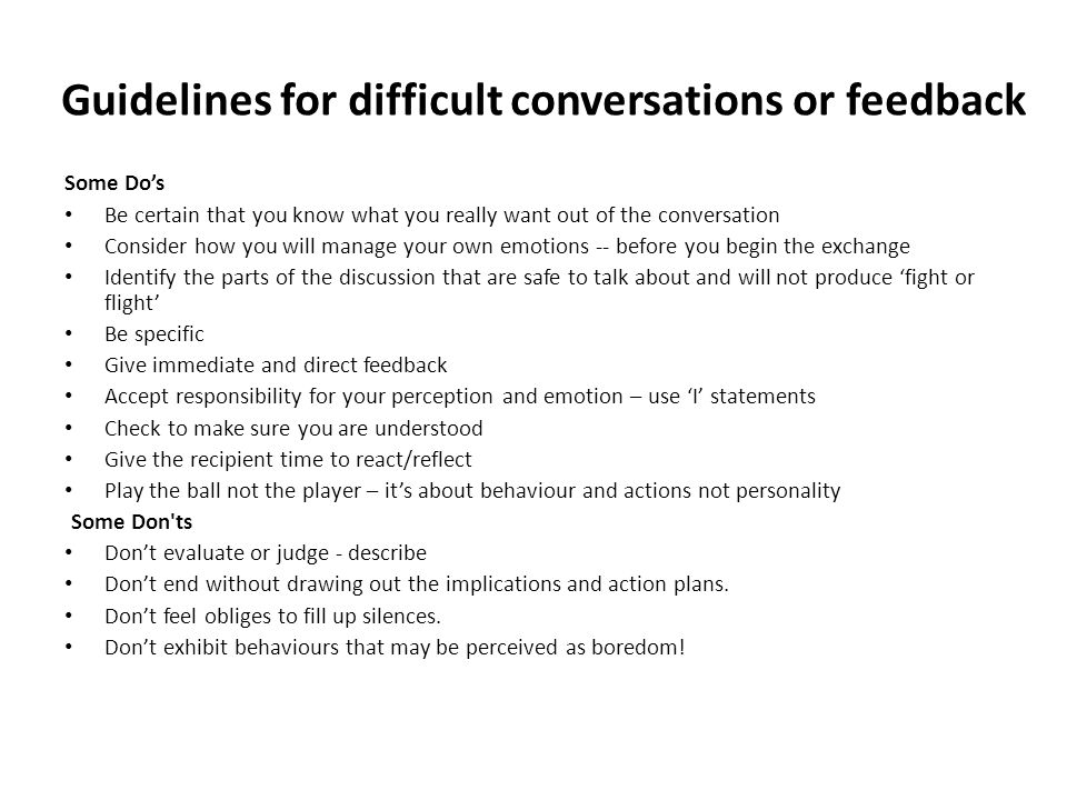 Guidelines for difficult conversations or feedback