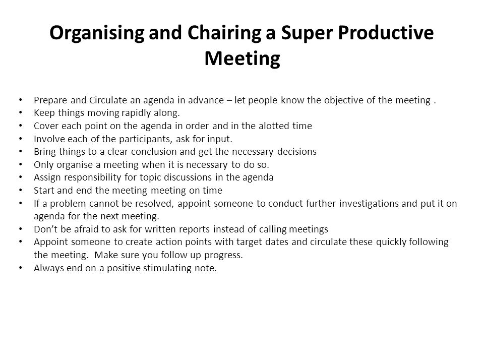 Organising and Chairing a Super Productive Meeting
