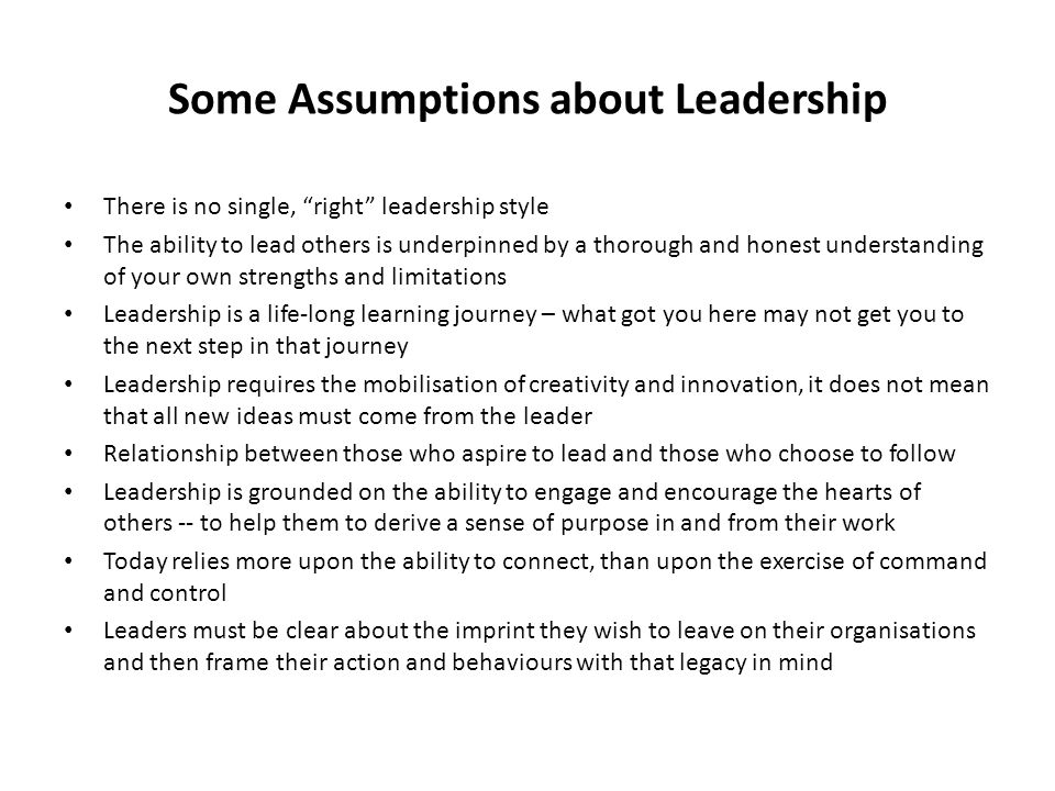 Some Assumptions about Leadership