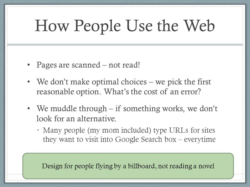 Design for people flying by a billboard, not reading a novel