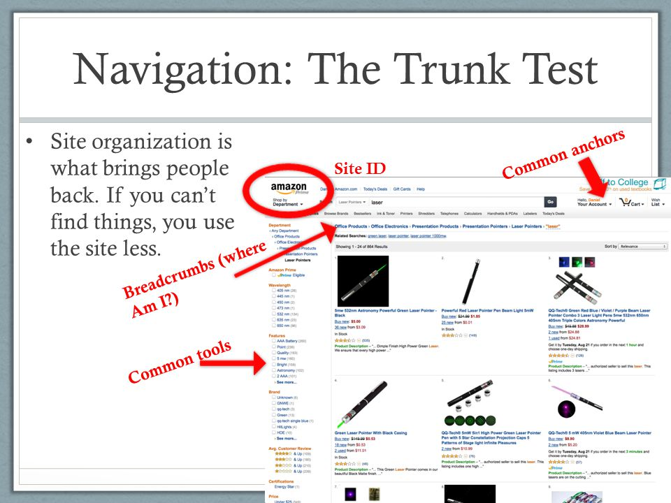 Navigation: The Trunk Test