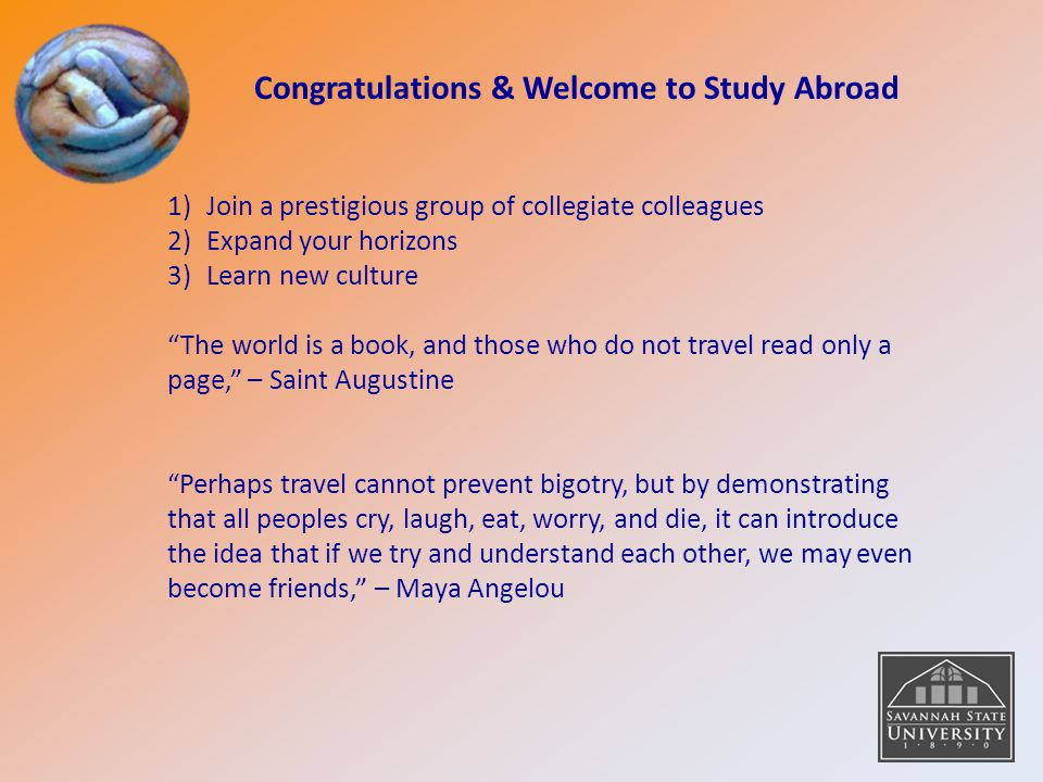 Congratulations & Welcome to Study Abroad