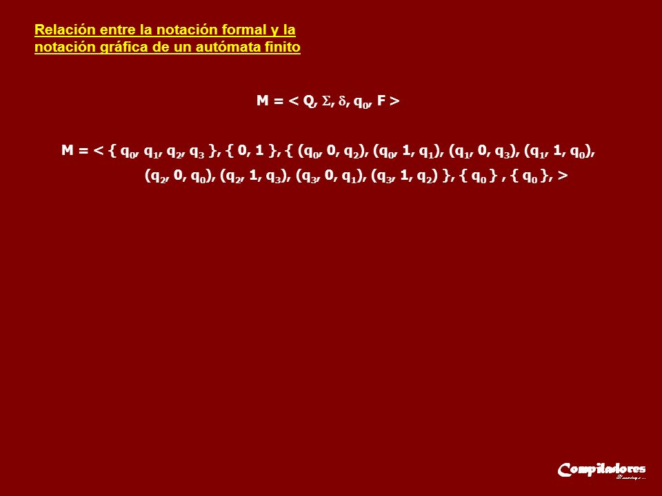 Relación entre la notación formal y la notación gráfica de un autómata finito