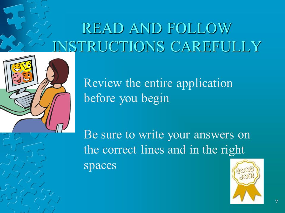 READ AND FOLLOW INSTRUCTIONS CAREFULLY