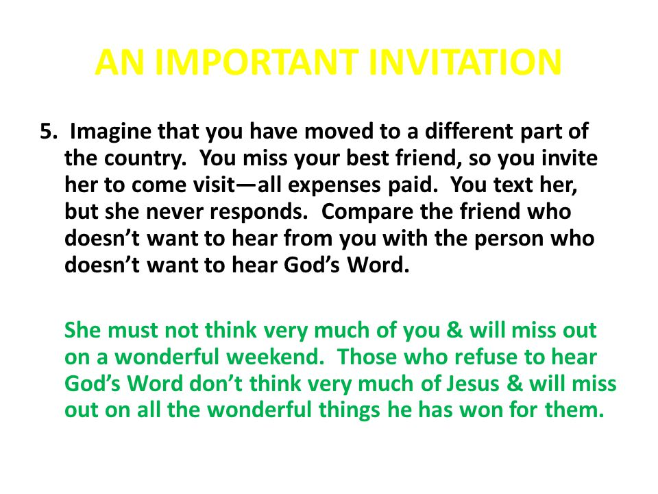 AN IMPORTANT INVITATION