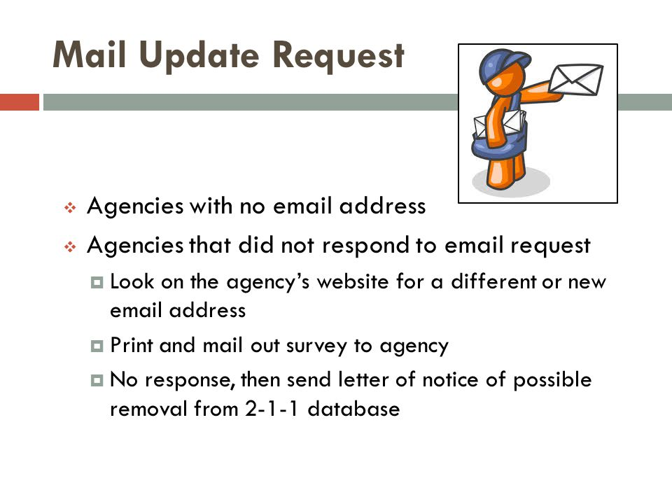 Mail Update Request Agencies with no email address