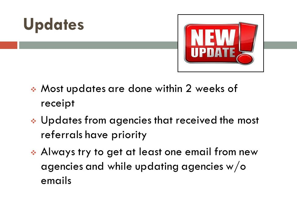 Updates Most updates are done within 2 weeks of receipt