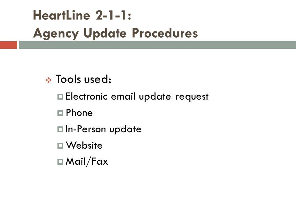 HeartLine 2-1-1: Agency Update Procedures