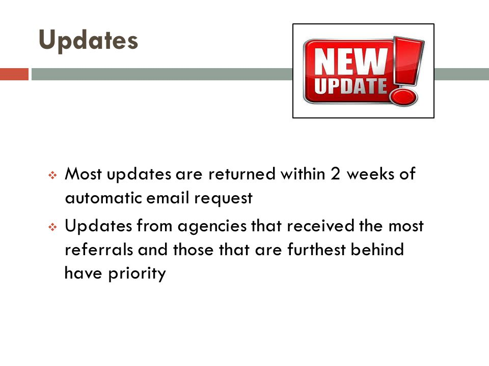 Updates Most updates are returned within 2 weeks of automatic email request.