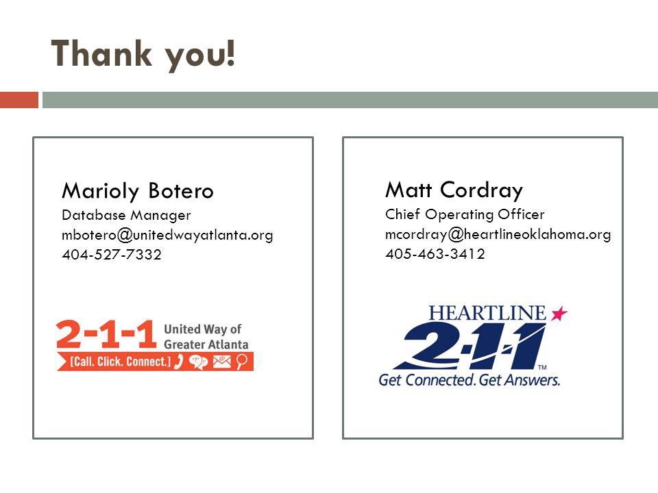 Thank you! Marioly Botero Matt Cordray Database Manager