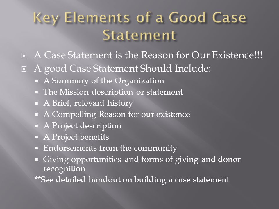 Key Elements of a Good Case Statement