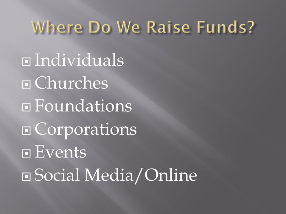 Individuals Churches Foundations Corporations Events